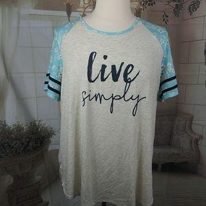 "Lane Bryant ""Live Simply"" Baseball Tee"